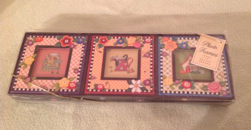 Mary Engelbreit Set of Three Small 2 by 2 Inch Square Cardboard Picture Frames, Spring Gingham