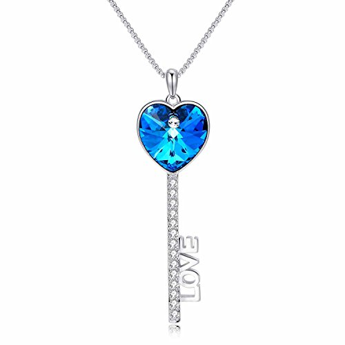 Carfeny Love Heart Key Pendant Necklace with Sparkling Swarovski Elements Crystals,Infinity Love Birthday Gifts ❤️Gift Packing❤️ (Titanic Heart Of The Ocean Necklace For Sale)