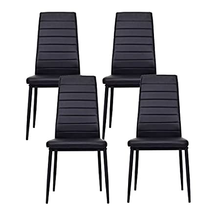IDS Online Modern Style PU Leather Dining Side Chair with Foot Pad Black