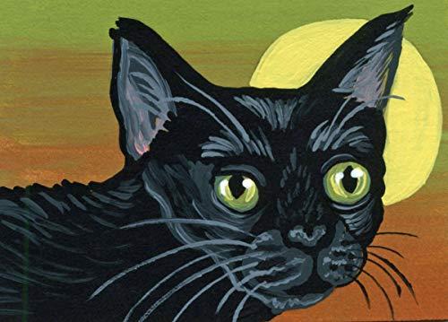 ACEO Original Trading Card-Full Moon Black Cat Art -Carla Smale