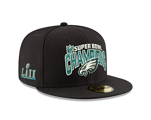 Super Bowl Champions Cap (New Era Philadelphia Eagles 59FIFTY Black Super Bowl Lii Champions Fitted Hat (7 1/4))
