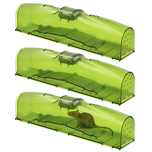 Puroma 3 Pack Two-Door Humane Smart Mouse Traps, Reusable No Kill Live Catch and Release Mousetraps, Household Friendly Pet and Children Safe Trap Catcher for Small Rodents Voles Hamsters Moles Mice