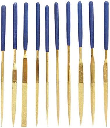JF-170407 10in1 3x140mm ゴールドメッキ ファイルグループ ツールセット ハンドツール (色 : ゴールド)