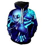Undertale Sans Skull Hoodie, Tale Sweater Unisex 3D Digital Print Blue Cosplay Costume Hooded Skeleton Sweatshirt for New Year Carnival
