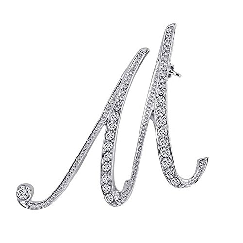 Axmerdal Silver Alloy 26 Alphabet English Letters Crystal Initial Charms Brooch Pin Men Women Gift Jewelry (M)]()