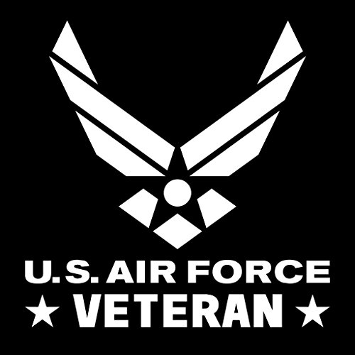 Air Force Veteran Emblem Vinyl Decal Sticker | Cars Trucks Vans Walls Laptops Cups | White | 5.5 X 5.4 Inch | KCD1725