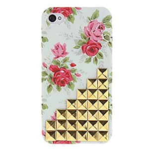 Golden Square Rivets Covered Up Stairs and Rose Pattern Hard Case with Glue for iPhone 4/4S