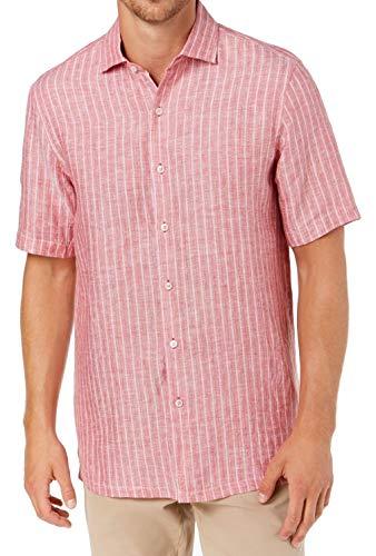 Tasso Elba Mens Small Button Down Stripe Linen Shirt Red S