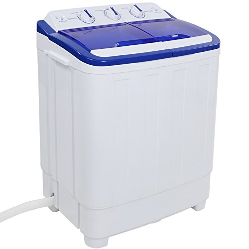 ROVSUN Portable Twin Tub Washing Machine, Electric Compact Washer, Wash 11LBS+Spin 5LBS Capacity Energy Saving, Spin Cycle w/ Hose,Great for Home RV Camping Dorms Apartments College Rooms