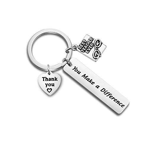 FOTAP Teacher Appreciation Gifts You Make a Difference Keychain Thank You Gift Graduation Gift from Students Best Teacher Ever Gift (Teacher keychain2)