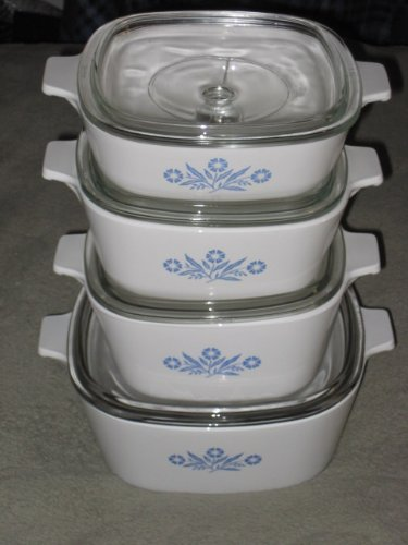 8 Piece Set - Vintage Corning Ware Cornflower Blue Casserole Set - 1 Qt, 1 1/2 Qt, 1 3/4 Qt, & 2 1/2 Quart