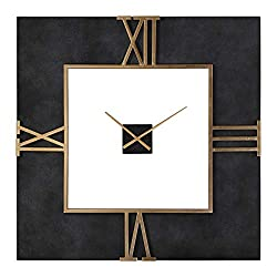 Uttermost 40 in. Square Wall Clock in Black