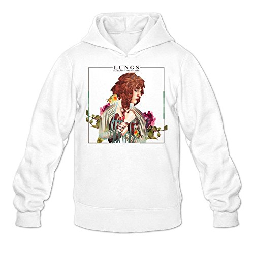 LSLEEVE Men's Lungs Florence And The Machine Hoodie White - Hut Florence
