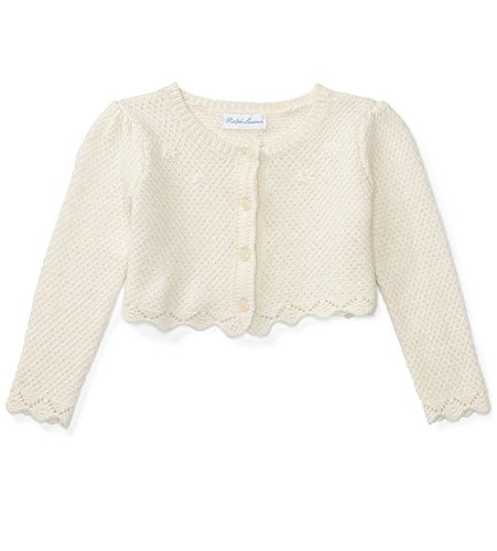 Ralph Lauren Baby Girls' Long-Sleeve Shrug Classic Cream (18 Months)