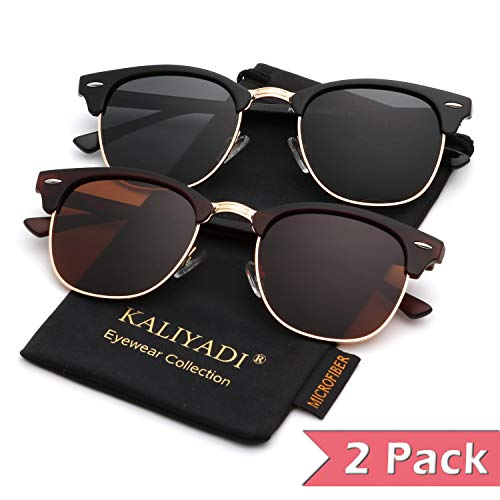 Polarized Sunglasses for Men and Women | Semi-Rimless Frame | Driving Sun glasses | 100% UV Blocking (Accessories For Sunglasses Women)