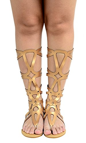 Odema Women's Roman Cut Out Knee High Strappy Gladiator Thong Sandals -