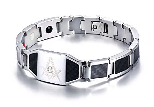 Mealguet Jewelry Stainless Steel Black Carbon Fiber Enamel Masonic Freemason Magnetic Bracelets for Men, Silver