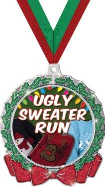 HOLIDAY MEDALS - 2.75'' Glitter Wreath Ugly Sweater Run Medal 50 Pack by Crown Awards