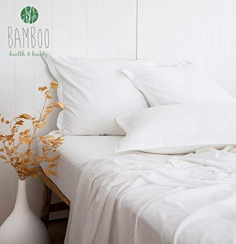 - New Definition of Bamboo Sheet! No Silky Shine, Beautiful Slub Textured, Stone Washed, 55% Bamboo and 45% Cotton Blend Bed Sheet, Cool & Moisture Wicking, Ultra Healthy and Comfortable, White, Queen