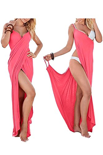 WIWIQS Womens Cute Deep V-Neck Maxi Backless Beach Dress Bikini Wrap Long Dresses Pink M