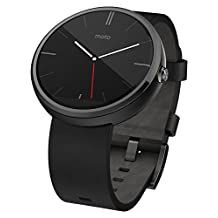 Motorola Moto 360 Black Leather Smart Watch