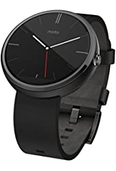 Motorola Moto 360 - Black Leather Smart Watch for Android Devices (Certified Refurbished)