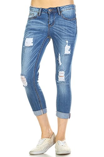 Vialumi Womens Distressed Destroyed Slashed