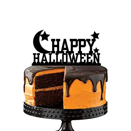 Scary Halloween Party Cake Decoration, Moon and Stars Cake Toppers, Festival Party Favors Supplies -