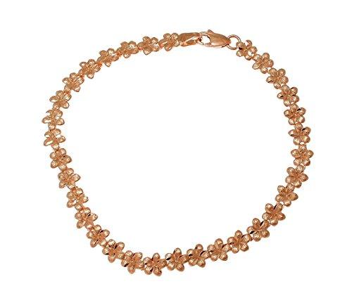 Arthur's Jewelry 14k solid pink rose gold Hawaiian plumeria flower bracelet 5.5mm 7