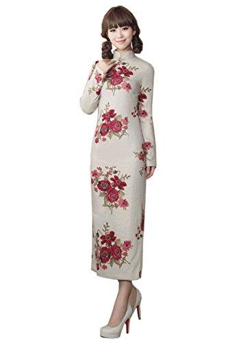 Damen Lang ACVIP Langarm Kunst Farbe6 Muster Cheongsam Verbessern Blumen Schlitz d0SBHg