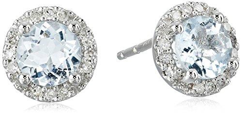 AMAZOn 10k White Gold Aquamarine and Diamond (1/10cttw) S...