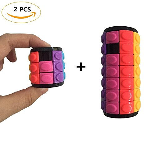 Solvang 2PCS Portable Mini Magic Cube Puzzle Speed Cube, Creative Puzzle Cube Baffle Puzzle Super Durable Brain Training Game for Kids and Adults