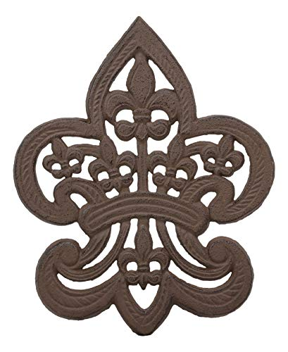 Ebros Gift 10 Wide Fleur De Lis Medallion Crown with Mini Le Fleur Emblems Design Cast Iron Metal Trivet Southern Western Rustic Country Vintage Decorative Accent for Wall Or Table Furniture