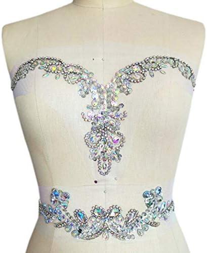 Sequin Motif Applique Trim Neckline Wedding Bridal Embroidery Sewing Crafts DIY