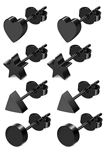 (JOERICA 4 Pairs Heart Stainless Steel Stud Earrings for Women Girls Star Earrings Black)