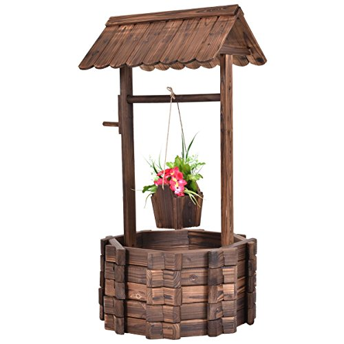 Outdoor Wooden Wishing Well Bucket Flower Plants Planter Patio Garden Home Decor (Gargoyle Lawn Ornaments)