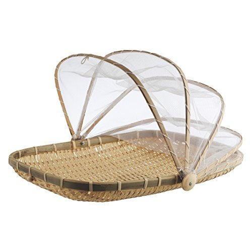 Cocoboo Bamboo Food Serving Tent | Natural Artisan Handmade Tray w/Mesh | Food Storage Basket | Meal Table Serve w/Cover 13 x 11 x 8 inches