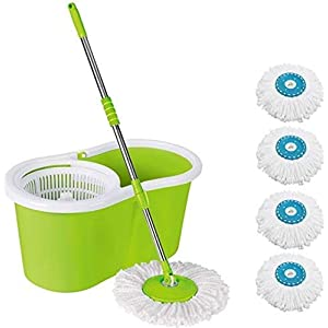 Hiscin Mop Floor Cleaner with Bucket Set Offer with Big Wheels for Best 360 Degree Easy Magic Cleaning, 4 Microfiber…
