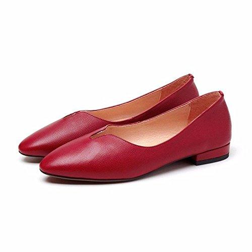 de Zapatos de Cabeza de Zapatos Suave de Inferior Inferior de de Las bajo la V de ZFNYY Parte Tacón los Planos Planos de Mujeres la Zapatos la Parte Boca la SpqxnFIwdR
