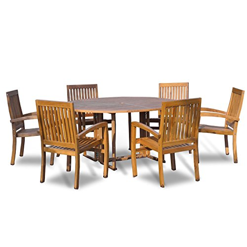 New 7Pc Grade-A Indonesian Teak Outdoor Dining Set-54 Round Table & 6 Patara Teak Stacking Chairs with Cushions - Indonesian Furniture Garden Teak