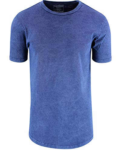 T-shirt Tee Large Denim - ShirtBANC Mens Hipster Hip Hop Long Drop Tail T Shirts (Vintage Denim, L)