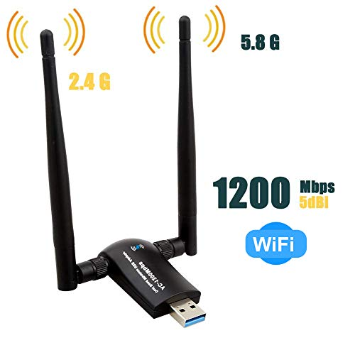 Techkey Wireless USB WiFi Adapter, 1200Mbps Dual Band 2.4GHz/300Mbps 5GHz/867Mbps High Gain Dual 5dBi Antennas Network WiFi USB 3.0 for Desktop Laptop with Windows 10/8/7/XP, Mac OS X