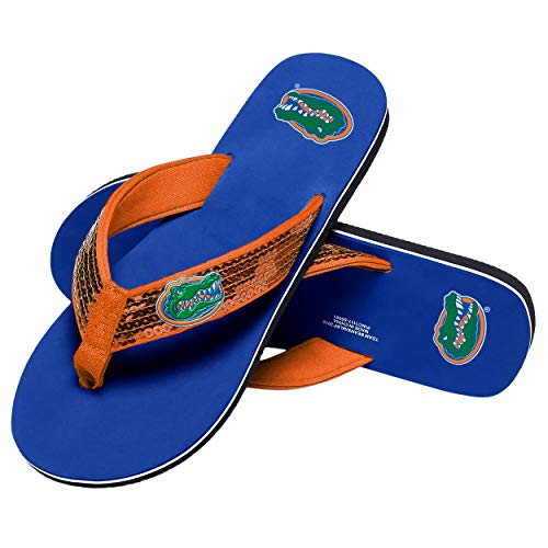 NCAA Florida Gators Womens Sequin Flip FLop- Team Color, Small (Flip Flops Florida)