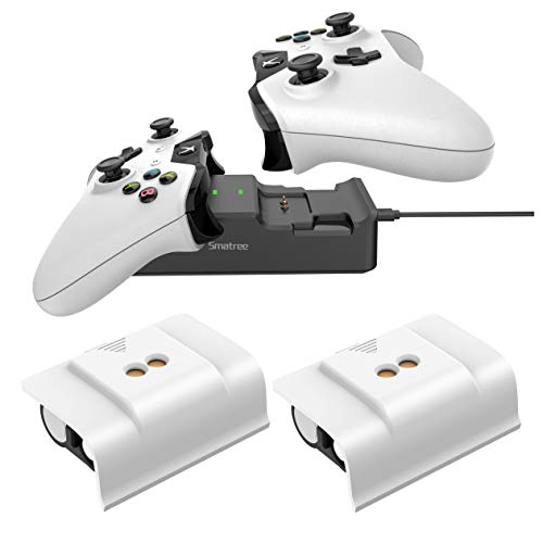 Smatree 2 x 2000 mAh Rechargeable Battery (White Back) + Dual Charging Station High Speed Docking Compatible for Xbox One/Xbox One X/Xbox One S/Xbox One Elite Wireless Controller White