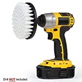 JDgoods 5 Inch Soft, Medium and Stiff Power Scrubbing Brush Drill Attachment for Cleaning Showers, Tubs, Bathrooms, Tile, Grout, Carpet, Tires, Boats (White)
