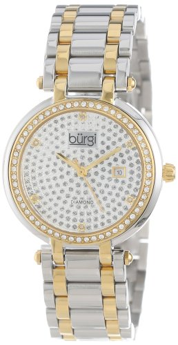 Burgi Women's BUR078TT Stainless Steel Pave Pattern Diamond Bracelet Watch