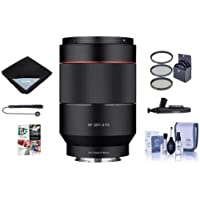 Samyang 35mm f/1.4 Auto Focus Lens for Sony E-mount Nex Series Cameras - Bundle With 67mm Filter kit, Lens Wrap, Cleaning Kit, Capleash II, Lenspen Lens Cleaner, PC Software Package