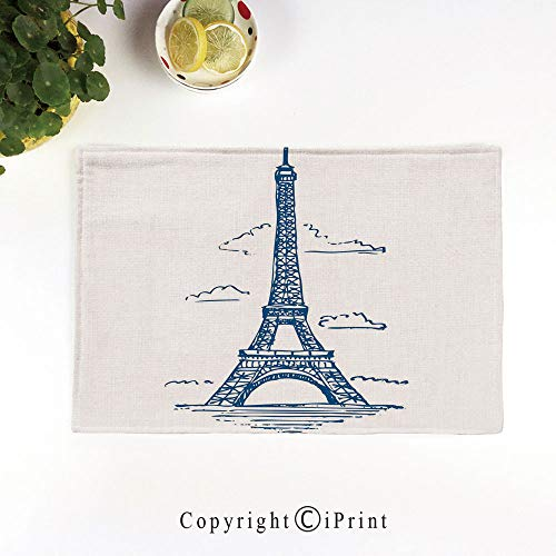(LIFEDZYLJH Everyday Place mat for Dinner Parties,Summer Outdoor Picnics,Set of 4,Machine Washable,Illustration of Eiffel Tower in Paris Modern French City Skyline Minimalistic,Navy)