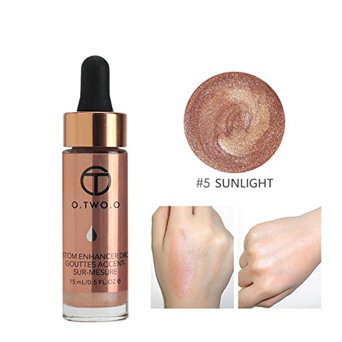 O.OWO.O Face Glow Liquid Highlighter Waterproof Contour Make Up Glitter Brighten Shimmer Highlighters Makeup (05-SUN)