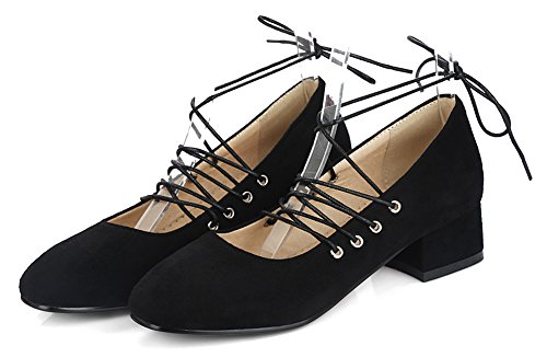 Aisun Womens Fashion Low Cut Faux Suede Dressy Square Toe Self Tie Ankle Wrap Block Low Heel Pumps Shoes Black c20HA